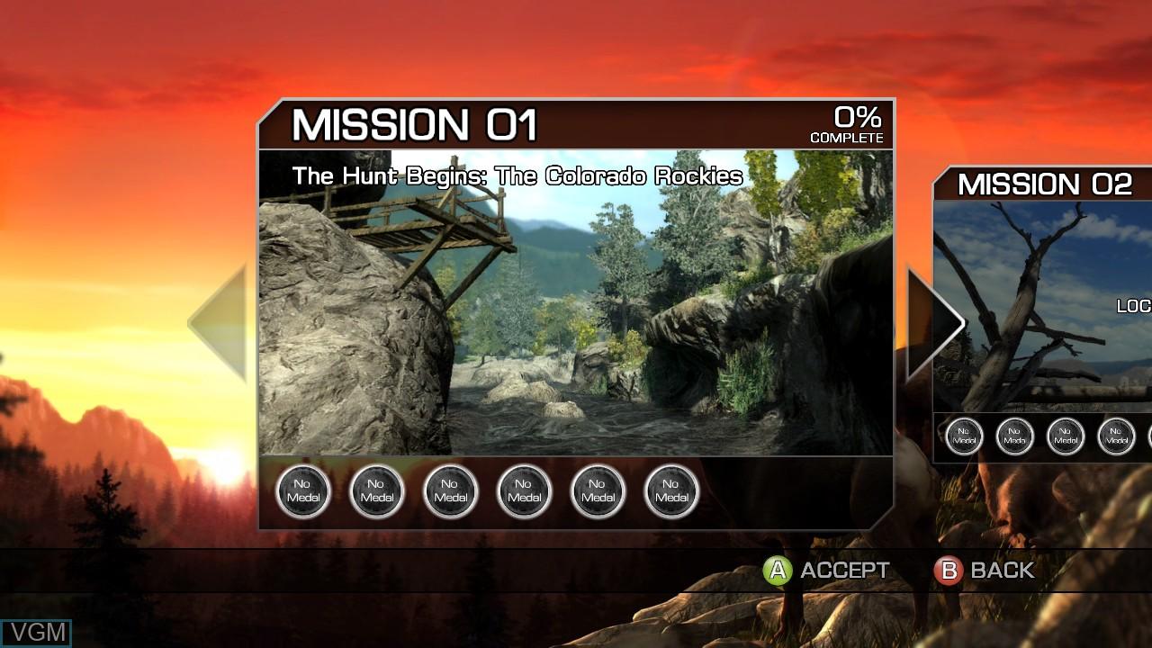 Menu screen of the game Cabela's Big Game Hunter 2010 on Microsoft Xbox 360