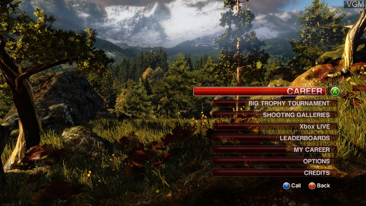 Menu screen of the game Cabela's North American Adventures on Microsoft Xbox 360