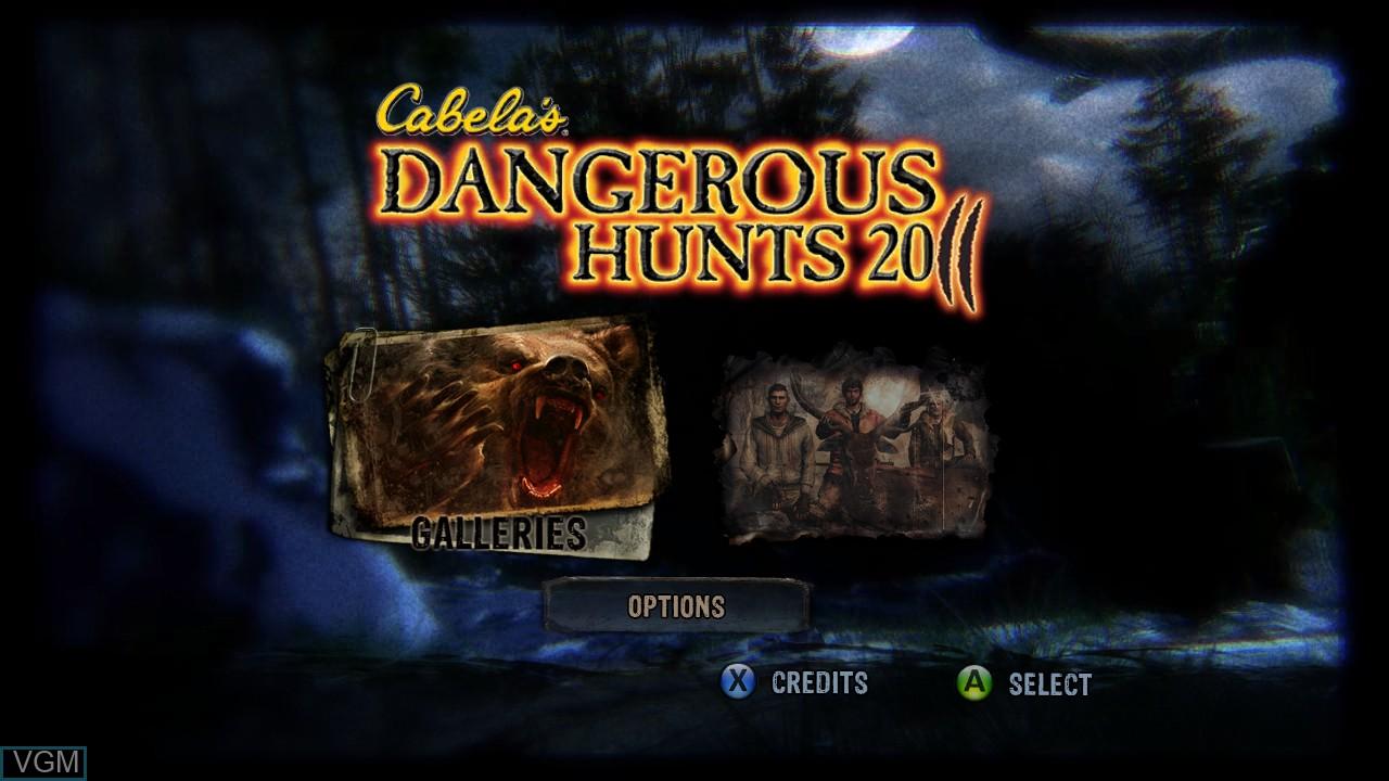 Menu screen of the game Cabela's Dangerous Hunts 2011 on Microsoft Xbox 360
