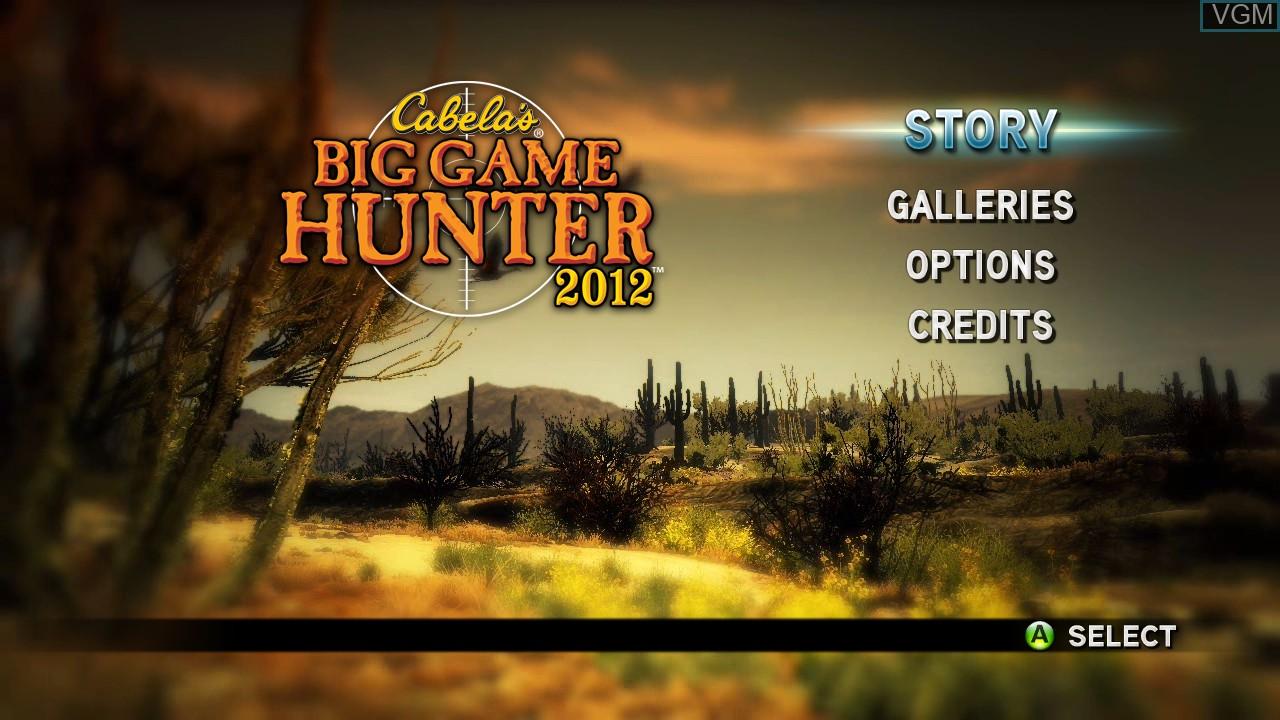 Menu screen of the game Cabela's Big Game Hunter 2012 on Microsoft Xbox 360