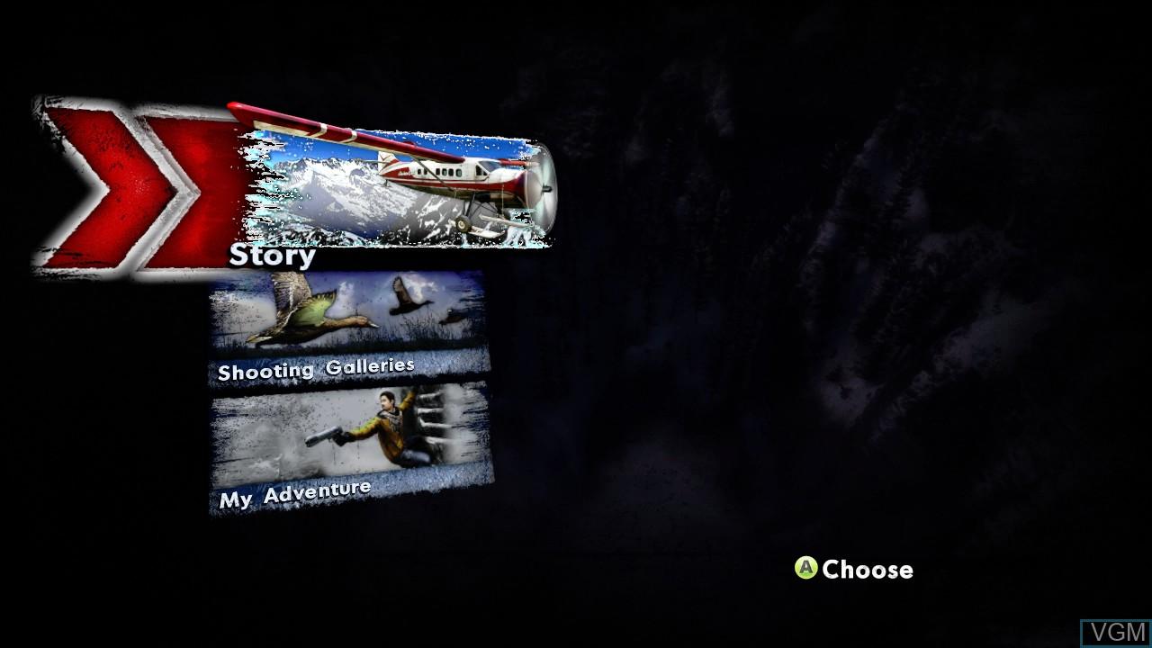 Menu screen of the game Cabela's Survival - Shadows of Katmai on Microsoft Xbox 360