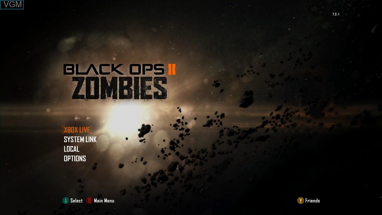 Menu screen of the game Call of Duty - Black Ops II on Microsoft Xbox 360