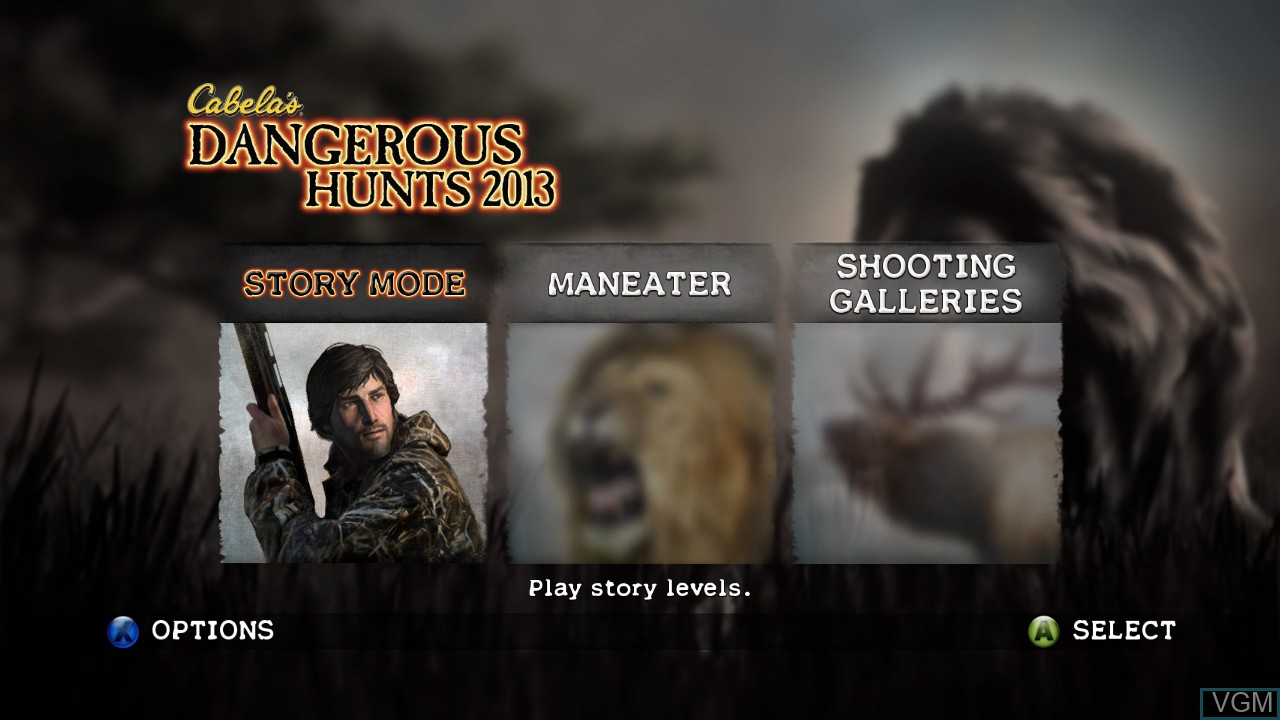 Menu screen of the game Cabela's Dangerous Hunts 2013 on Microsoft Xbox 360