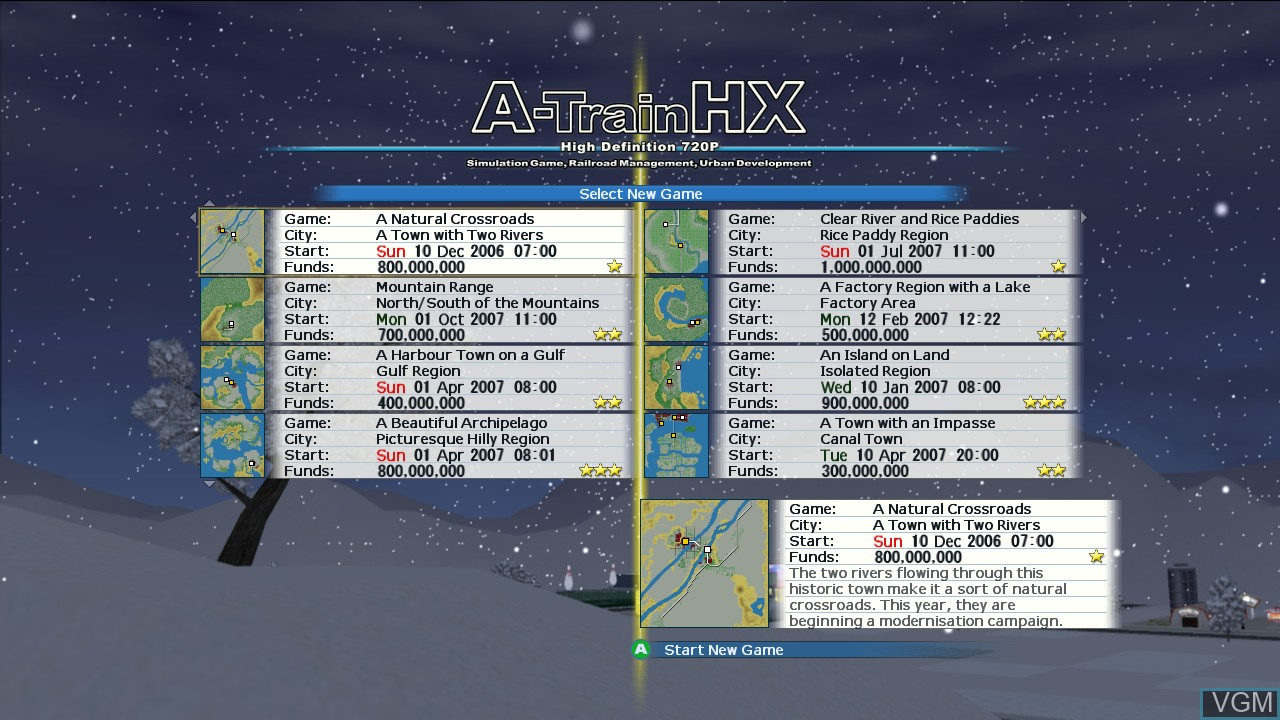 Menu screen of the game A-Train HX on Microsoft Xbox 360