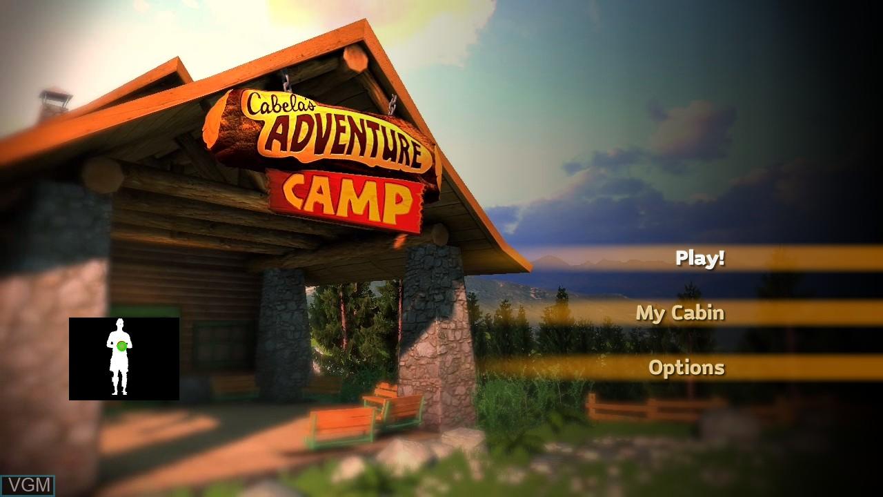 Menu screen of the game Cabela's Adventure Camp on Microsoft Xbox 360