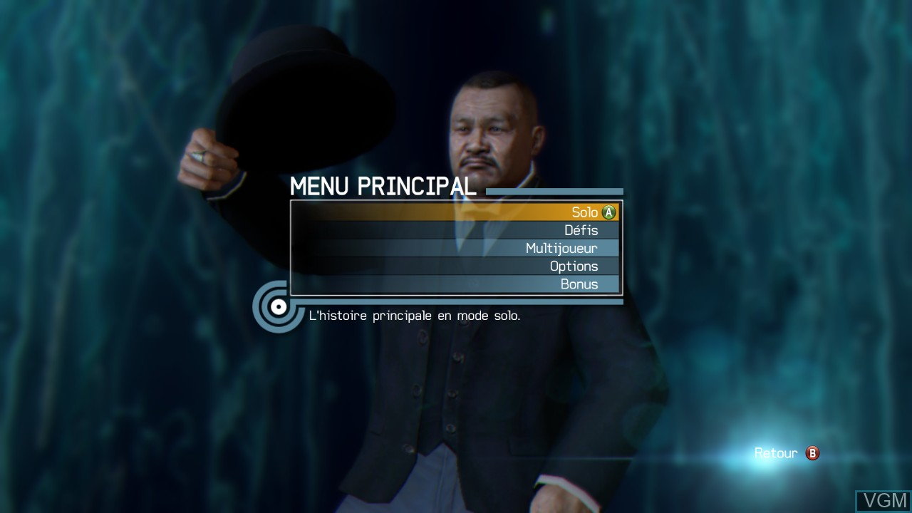 Menu screen of the game 007 Legends on Microsoft Xbox 360