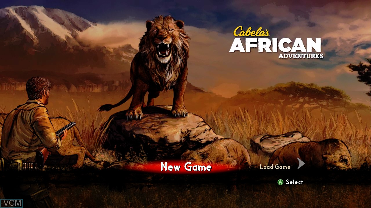 Menu screen of the game Cabela's African Adventures on Microsoft Xbox 360