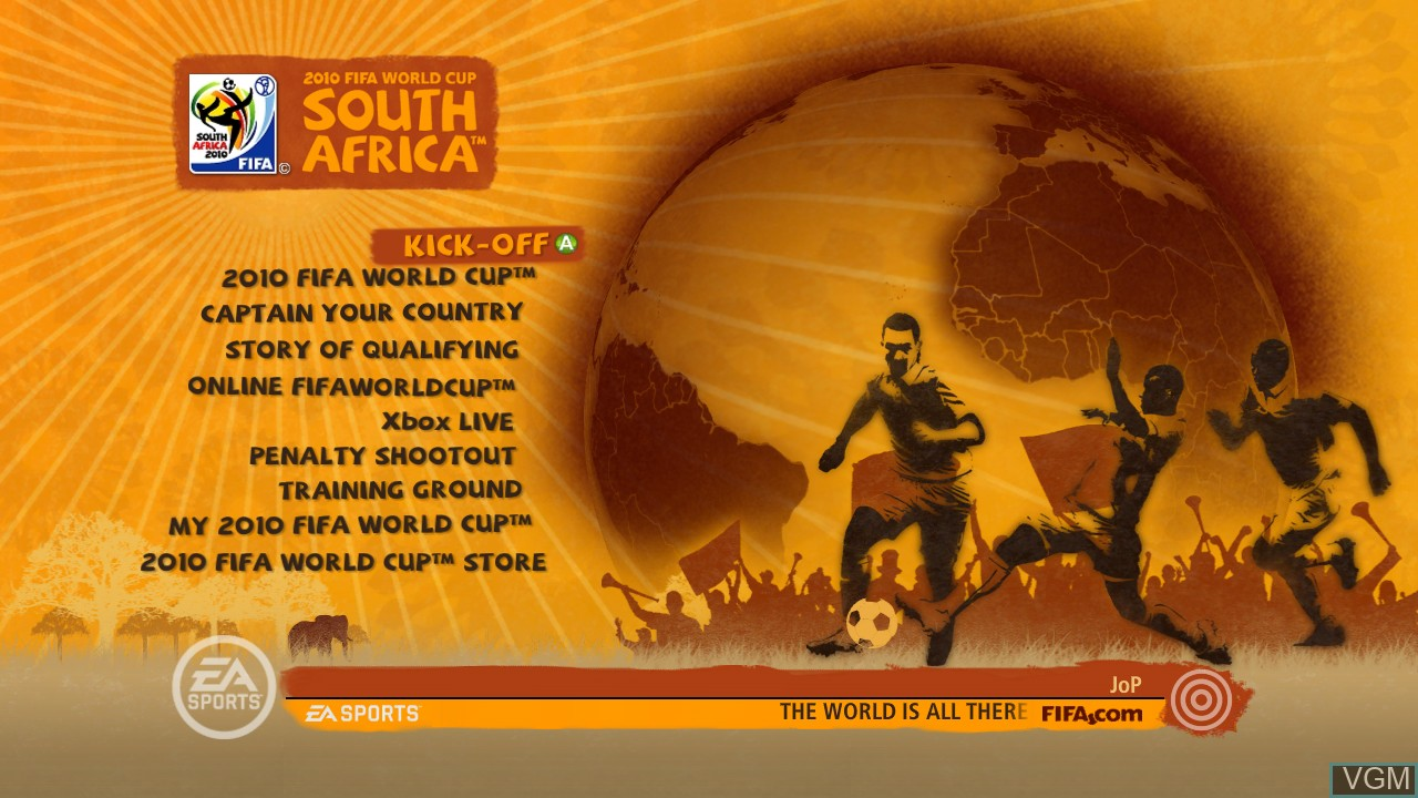 Menu screen of the game 2010 FIFA World Cup South Africa on Microsoft Xbox 360