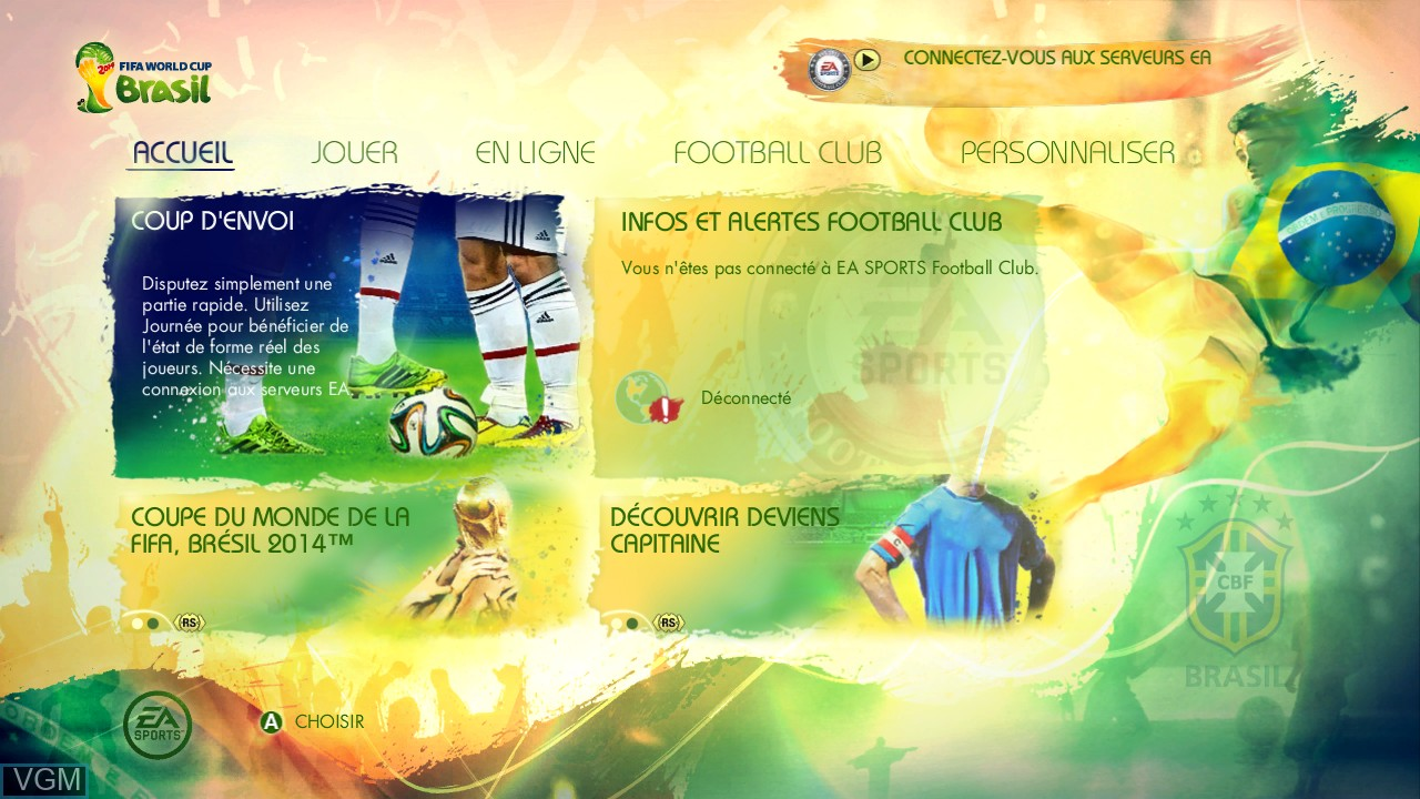 Menu screen of the game 2014 FIFA World Cup Brazil on Microsoft Xbox 360