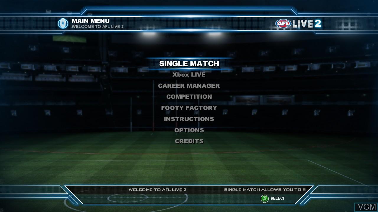 Menu screen of the game AFL Live 2 on Microsoft Xbox 360