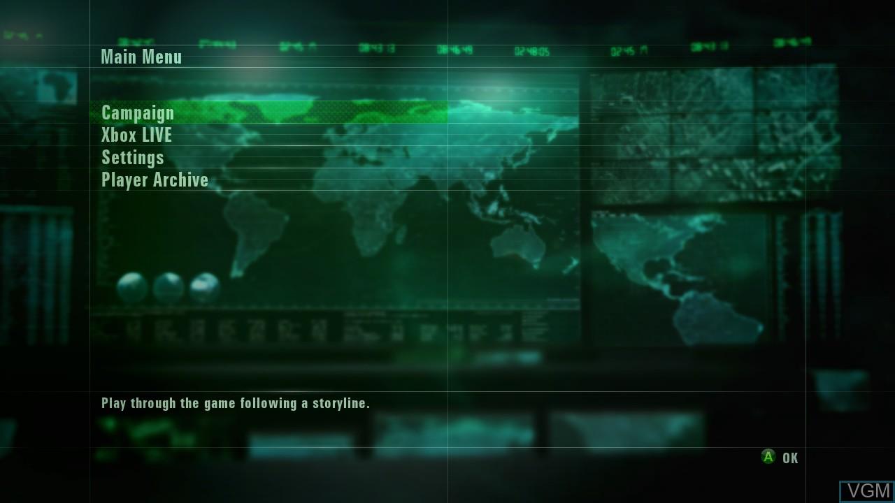Menu screen of the game Ace Combat - Assault Horizon on Microsoft Xbox 360