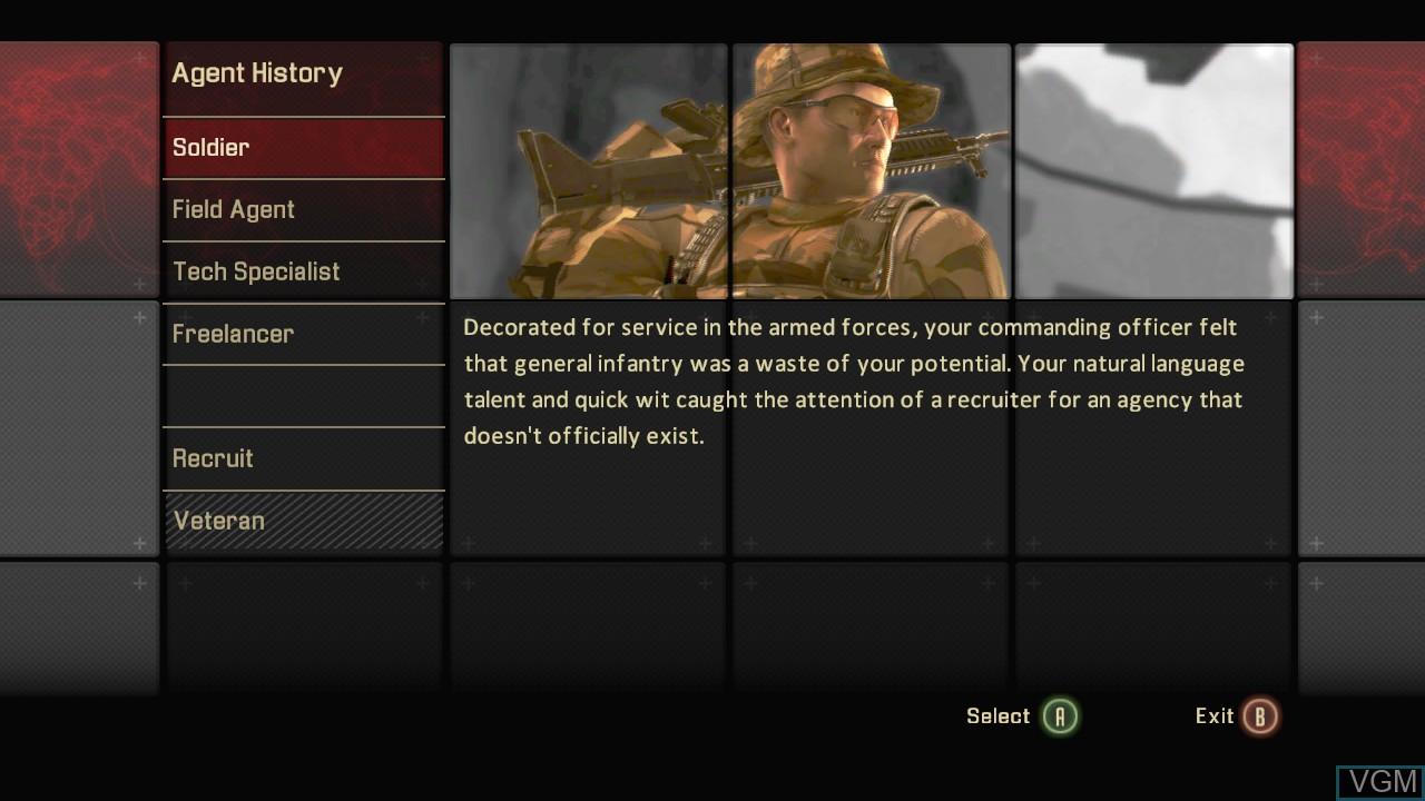 Menu screen of the game Alpha Protocol on Microsoft Xbox 360