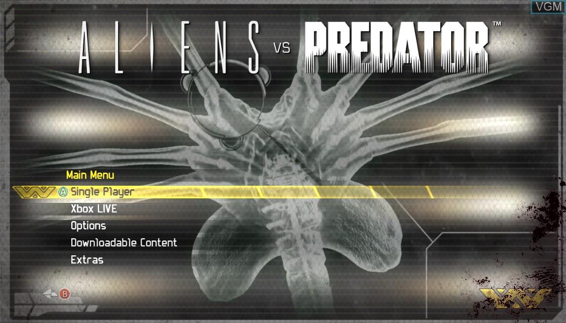 Menu screen of the game Aliens vs. Predator on Microsoft Xbox 360