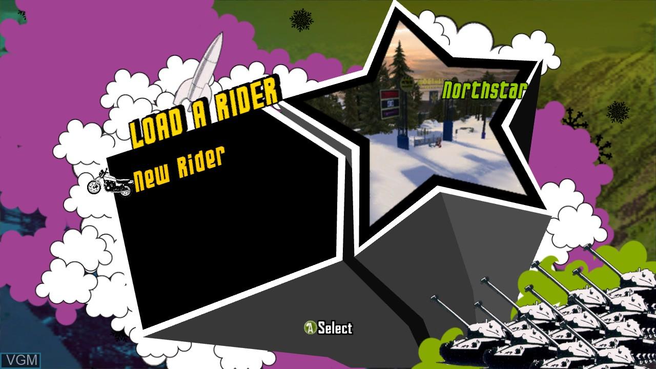 Menu screen of the game Amped 3 on Microsoft Xbox 360