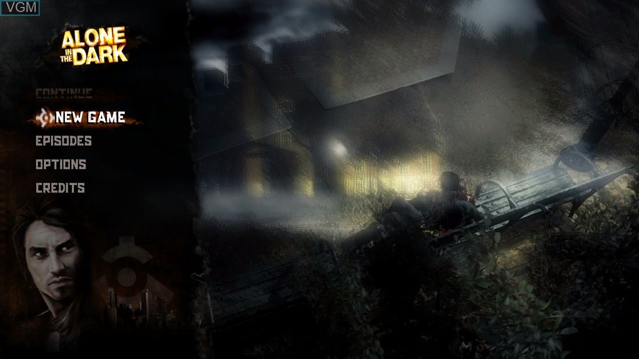 Menu screen of the game Alone in the Dark on Microsoft Xbox 360