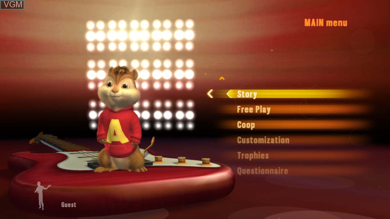Menu screen of the game Alvin and the Chipmunks - Chipwrecked on Microsoft Xbox 360