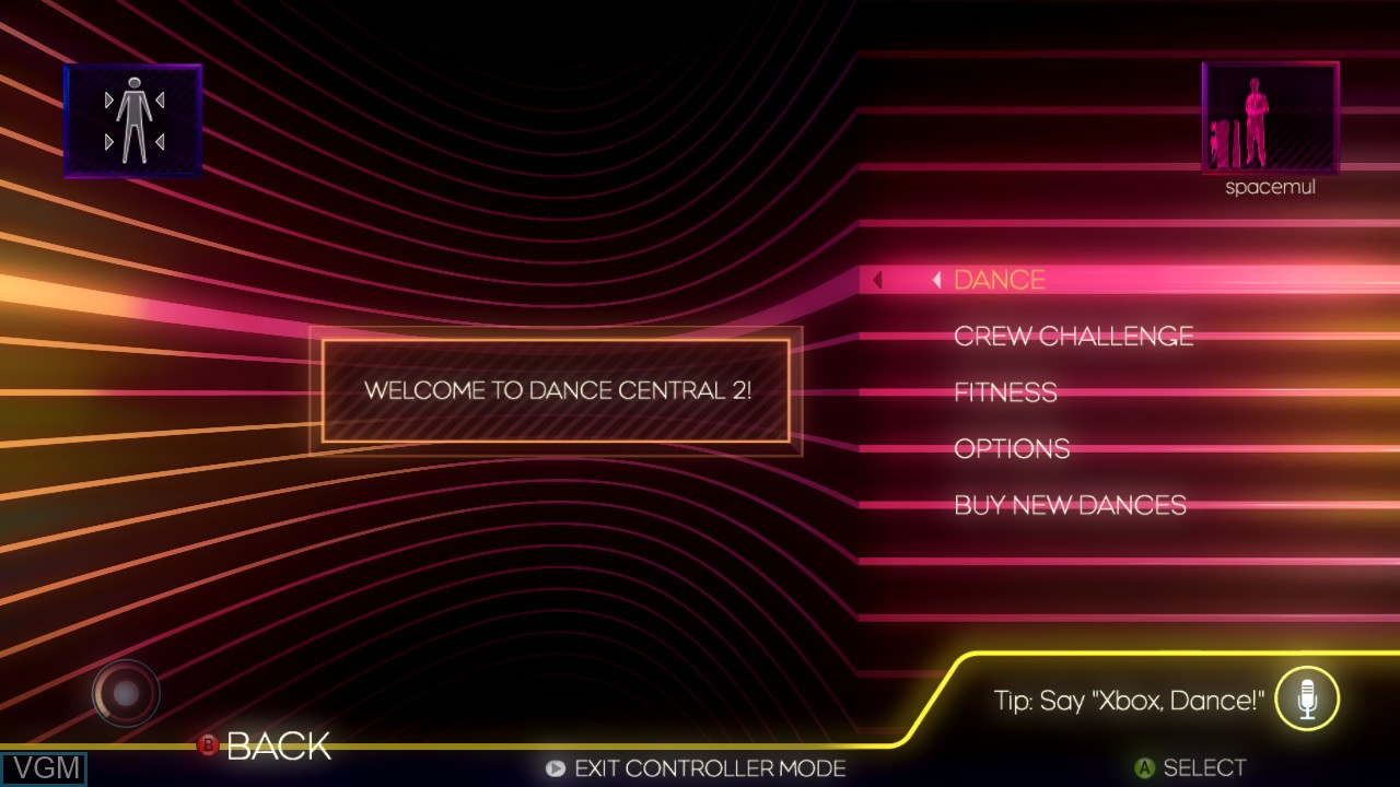 Menu screen of the game Dance Central 2 on Microsoft Xbox 360