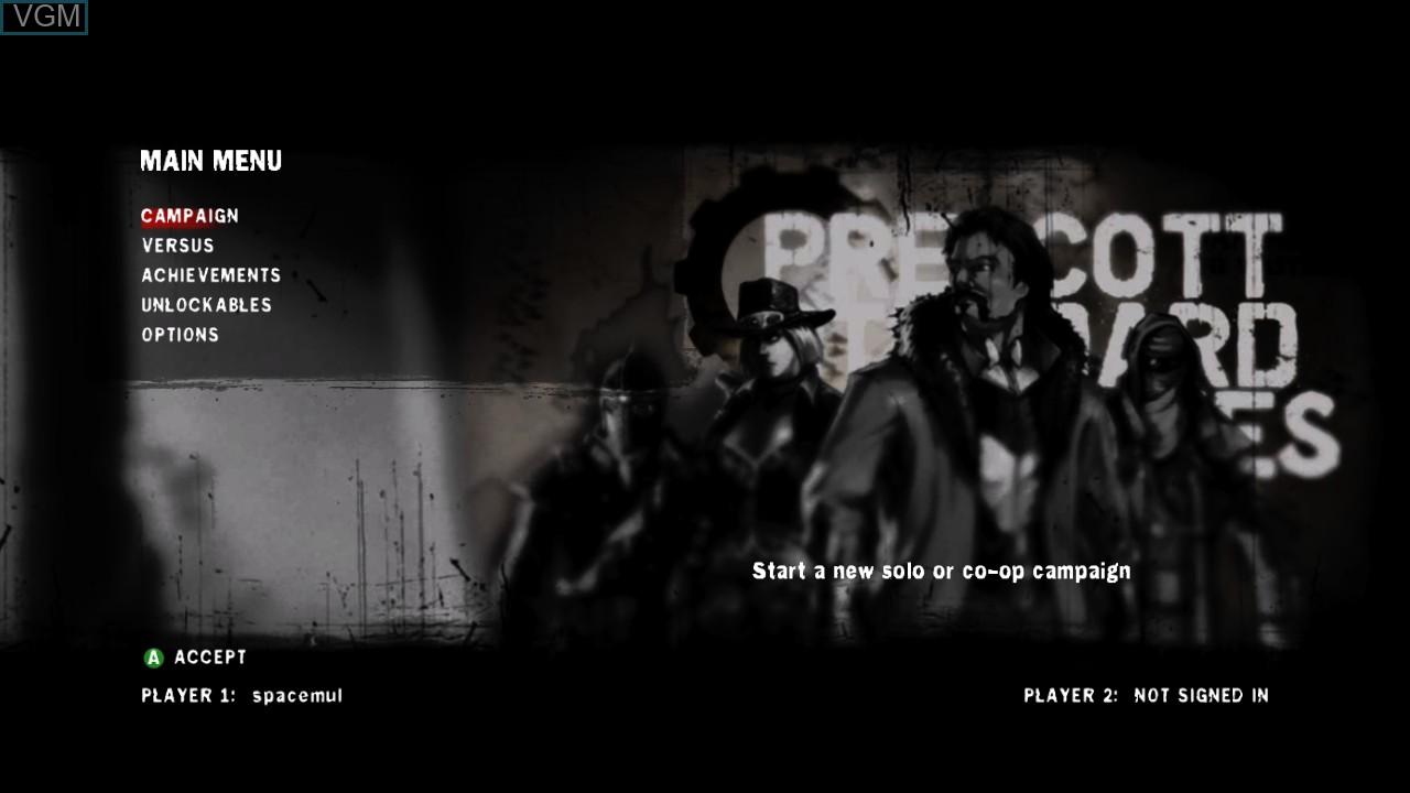 Menu screen of the game Damnation on Microsoft Xbox 360
