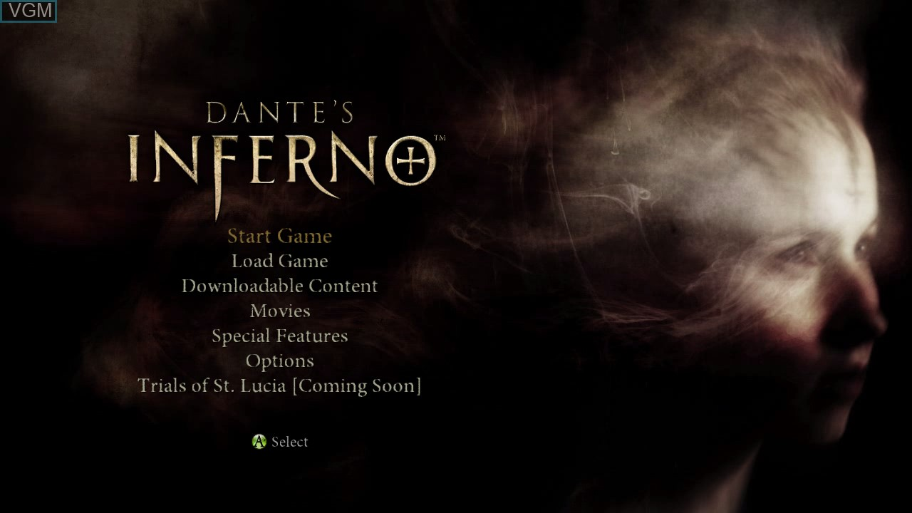 Menu screen of the game Dante's Inferno on Microsoft Xbox 360