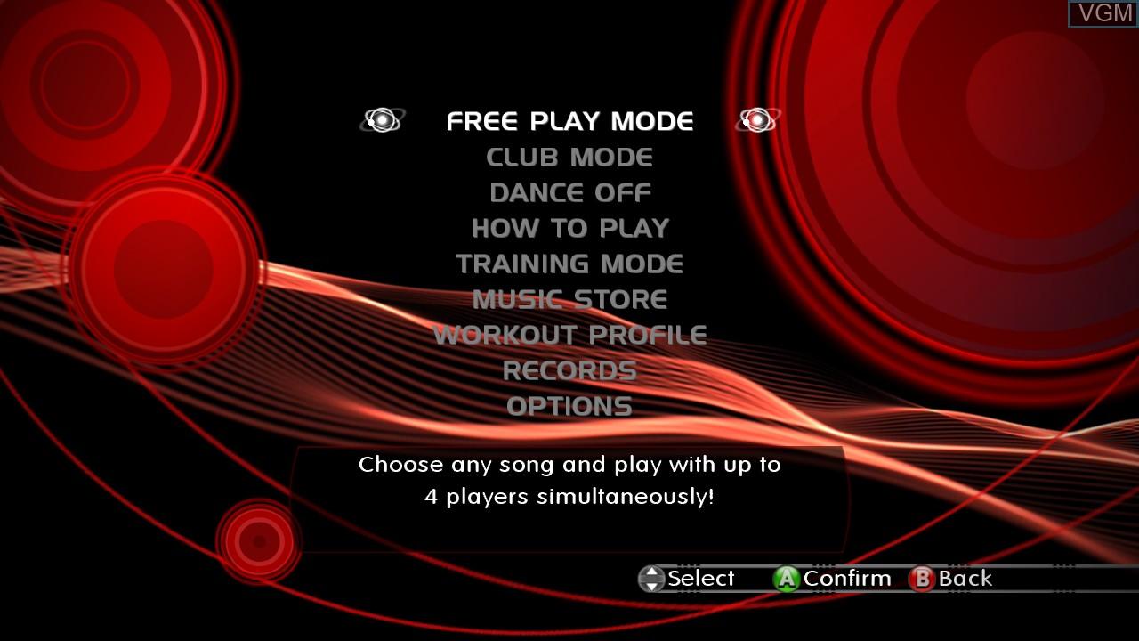 Menu screen of the game DanceDanceRevolution on Microsoft Xbox 360