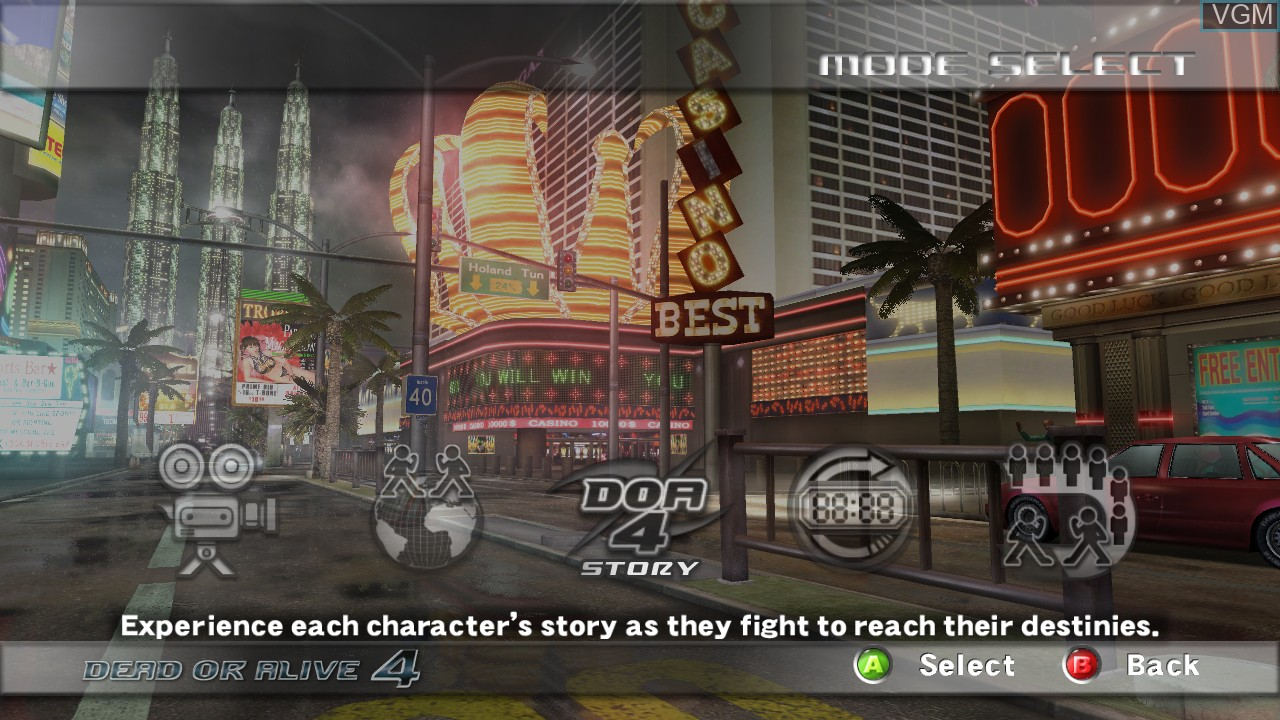 Menu screen of the game Dead or Alive 4 on Microsoft Xbox 360