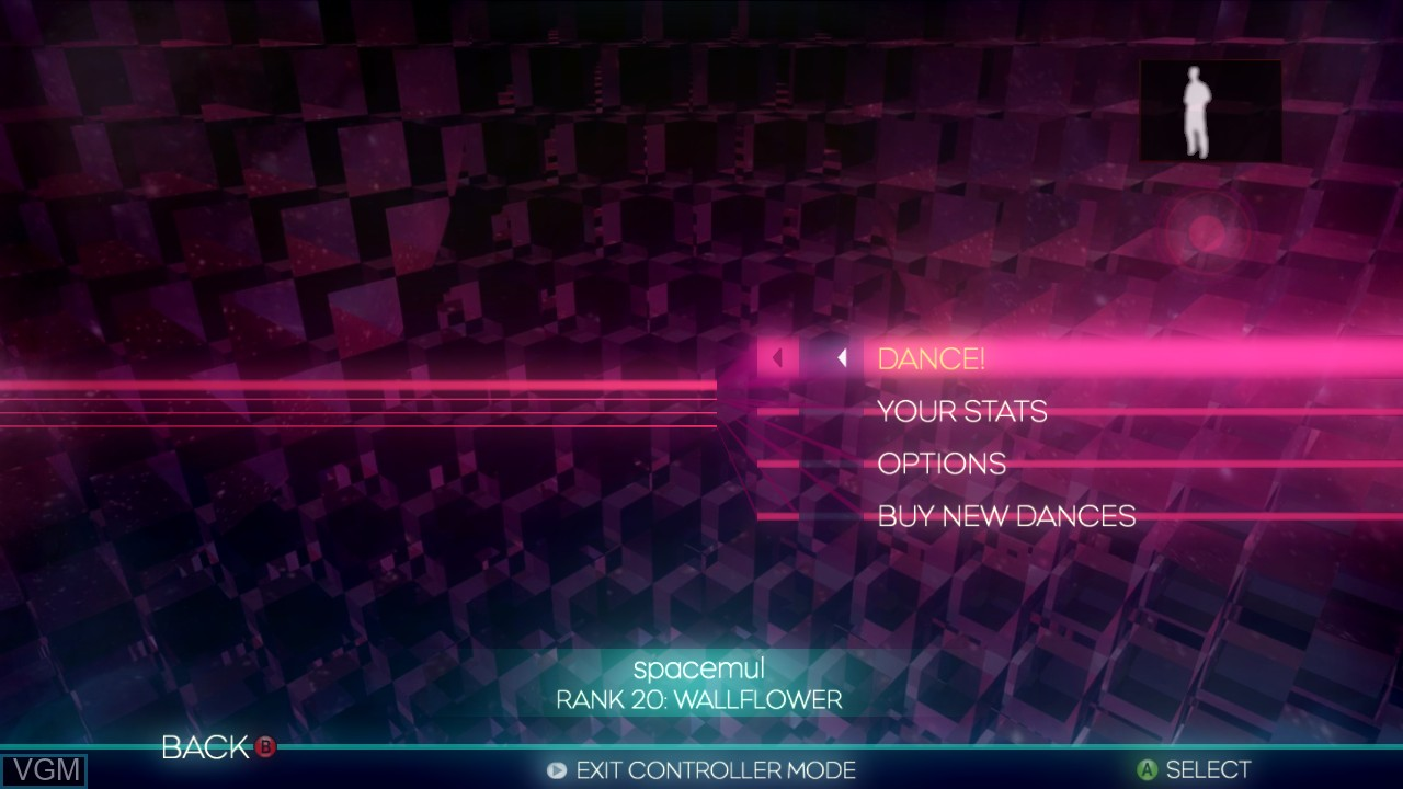 Menu screen of the game Dance Central on Microsoft Xbox 360