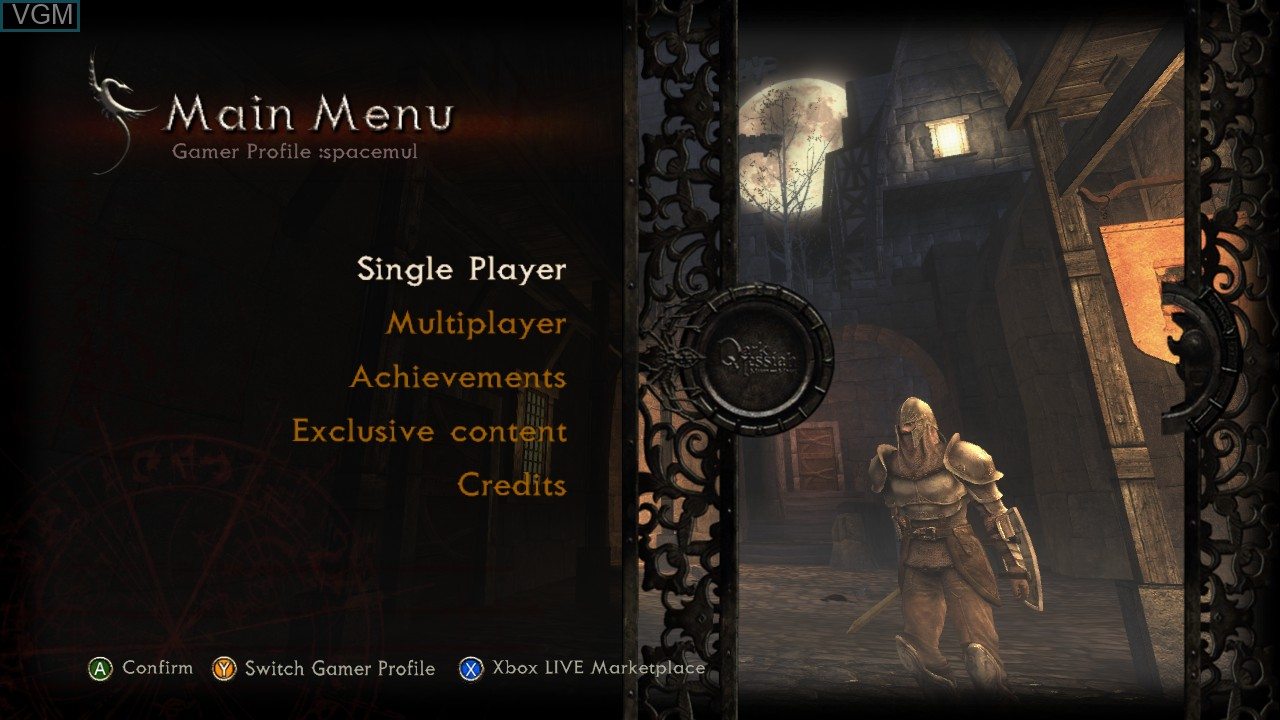Menu screen of the game Dark Messiah of Might and Magic - Elements on Microsoft Xbox 360