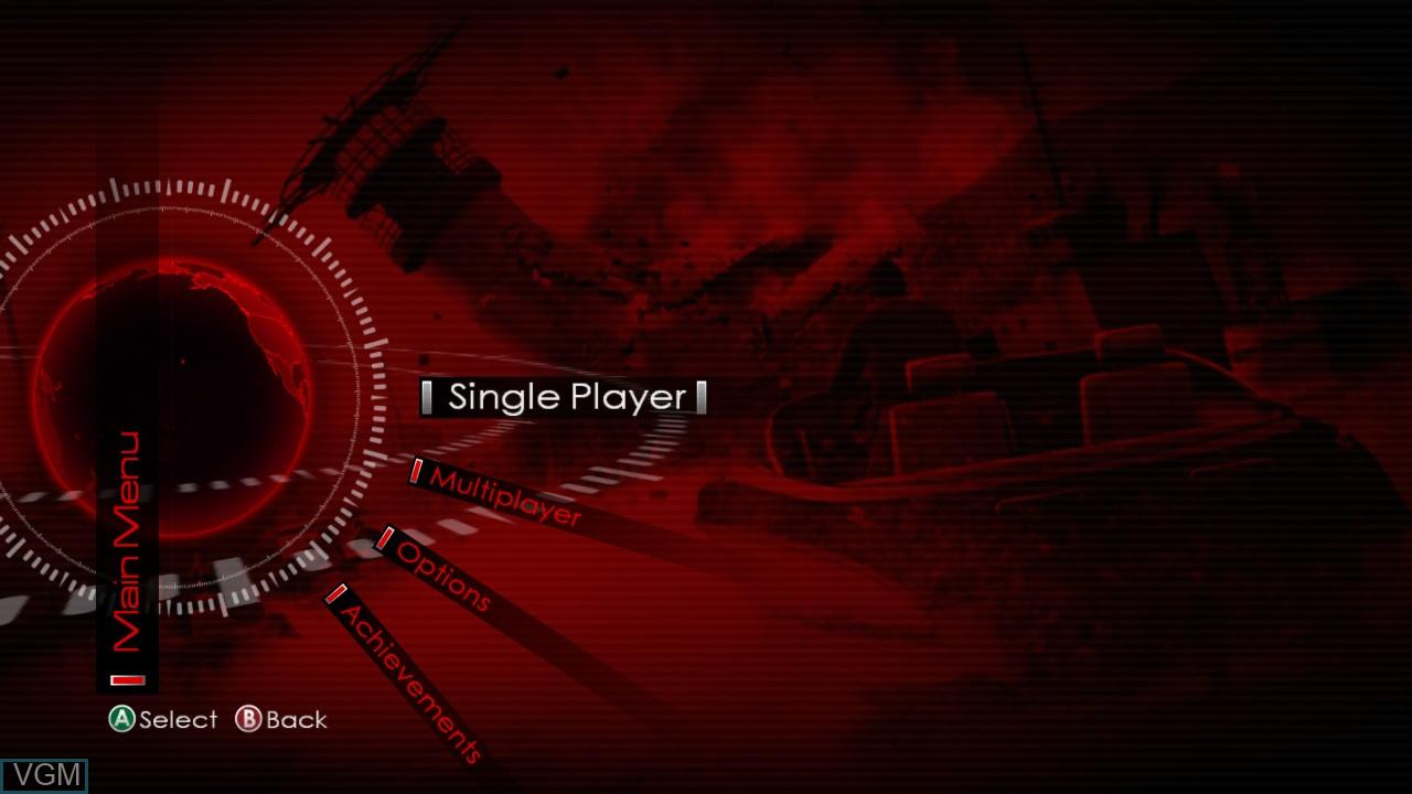 Menu screen of the game James Bond 007 - Blood Stone on Microsoft Xbox 360