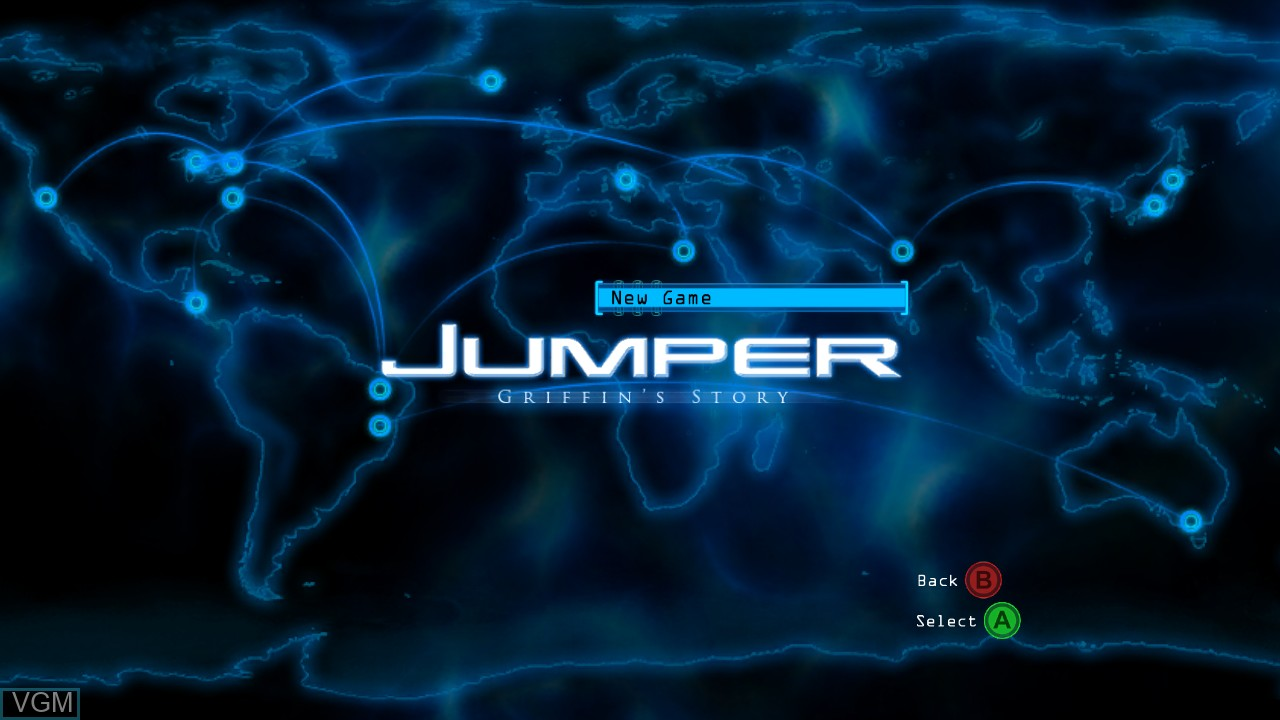 Menu screen of the game Jumper - Griffin's Story on Microsoft Xbox 360