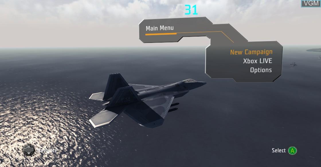 Menu screen of the game JASF - Jane's Advanced Strike Fighters on Microsoft Xbox 360