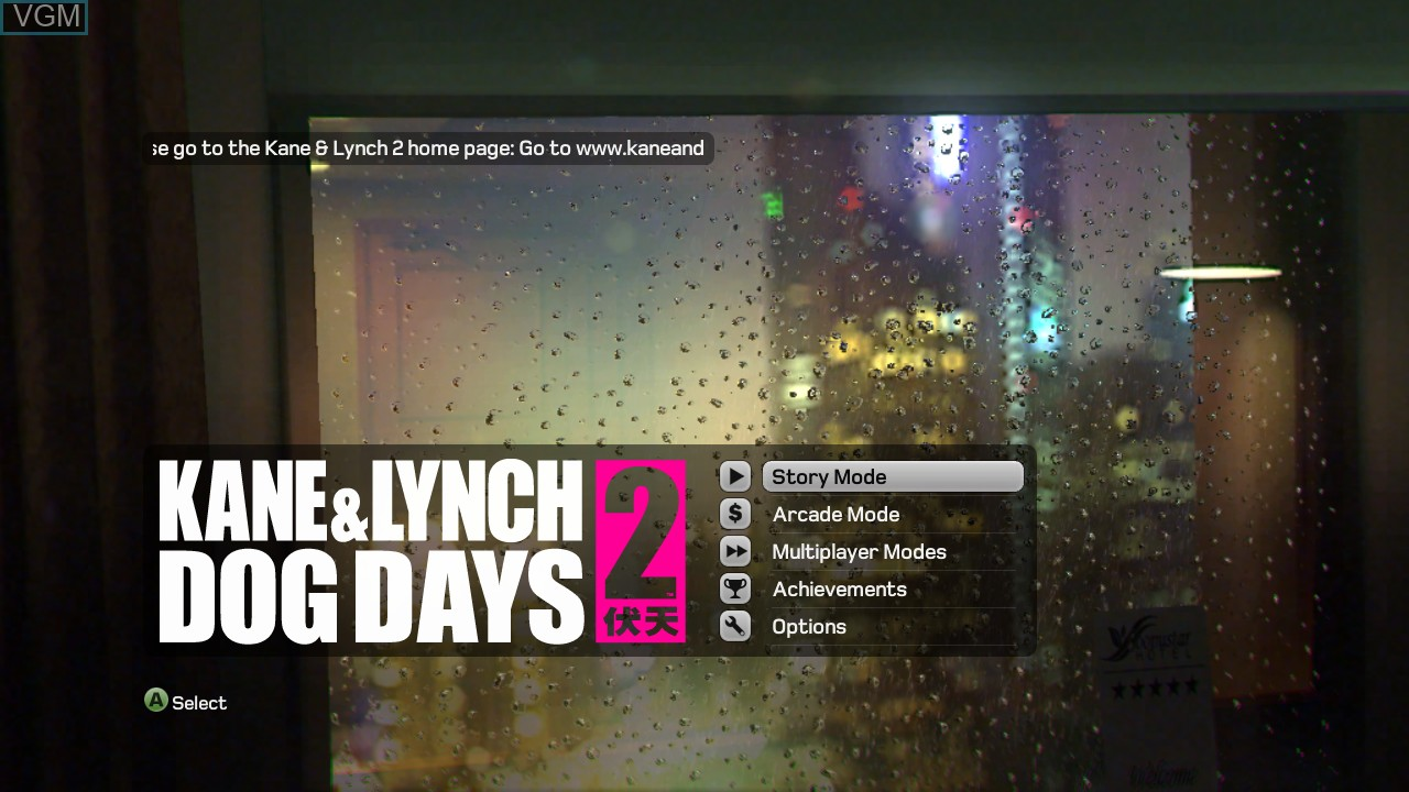 Menu screen of the game Kane & Lynch 2 - Dog Days on Microsoft Xbox 360