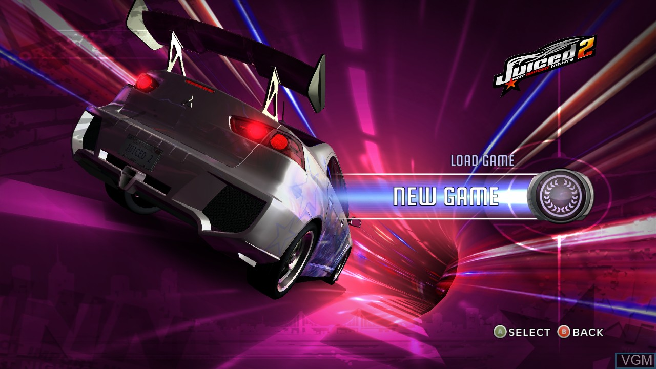 Menu screen of the game Juiced 2 - Hot Import Nights on Microsoft Xbox 360