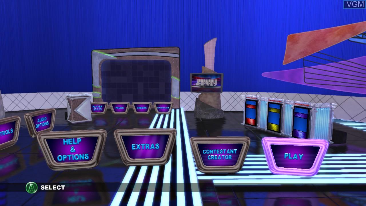 Menu screen of the game Jeopardy! on Microsoft Xbox 360