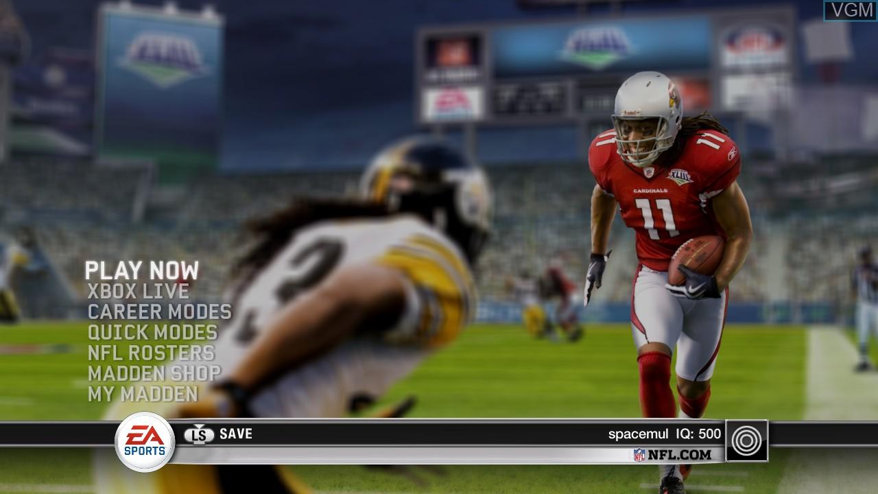 Menu screen of the game Madden NFL 10 on Microsoft Xbox 360