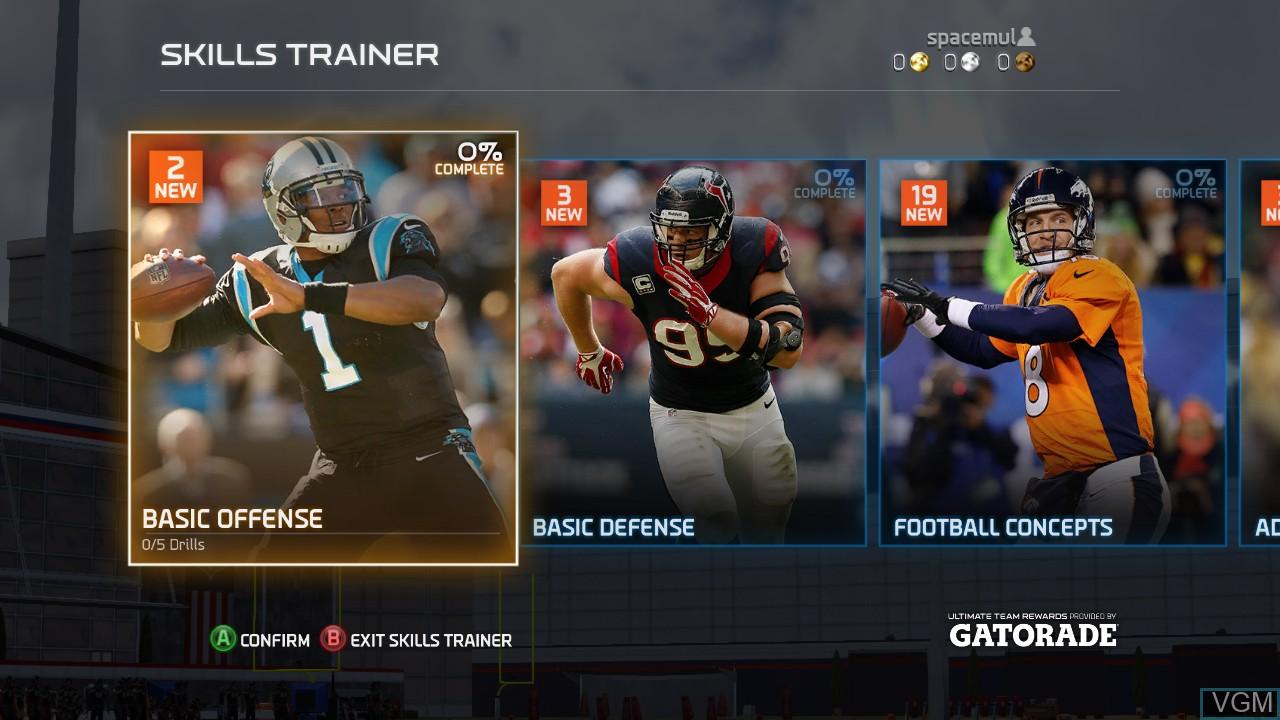 Menu screen of the game Madden NFL 15 on Microsoft Xbox 360