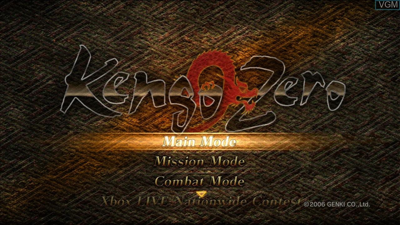 Menu screen of the game Kengo Zero on Microsoft Xbox 360