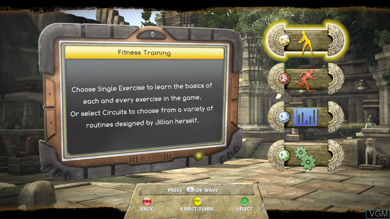 Menu screen of the game Jillian Michaels' Fitness Adventure on Microsoft Xbox 360