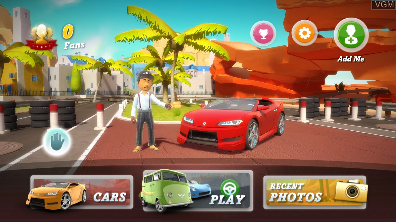 Menu screen of the game Kinect Joy Ride on Microsoft Xbox 360
