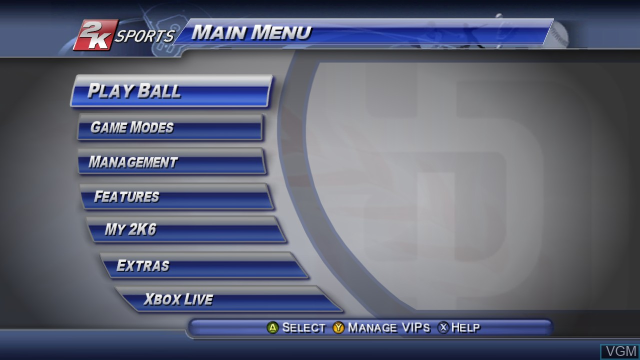 Menu screen of the game Major League Baseball 2K6 on Microsoft Xbox 360