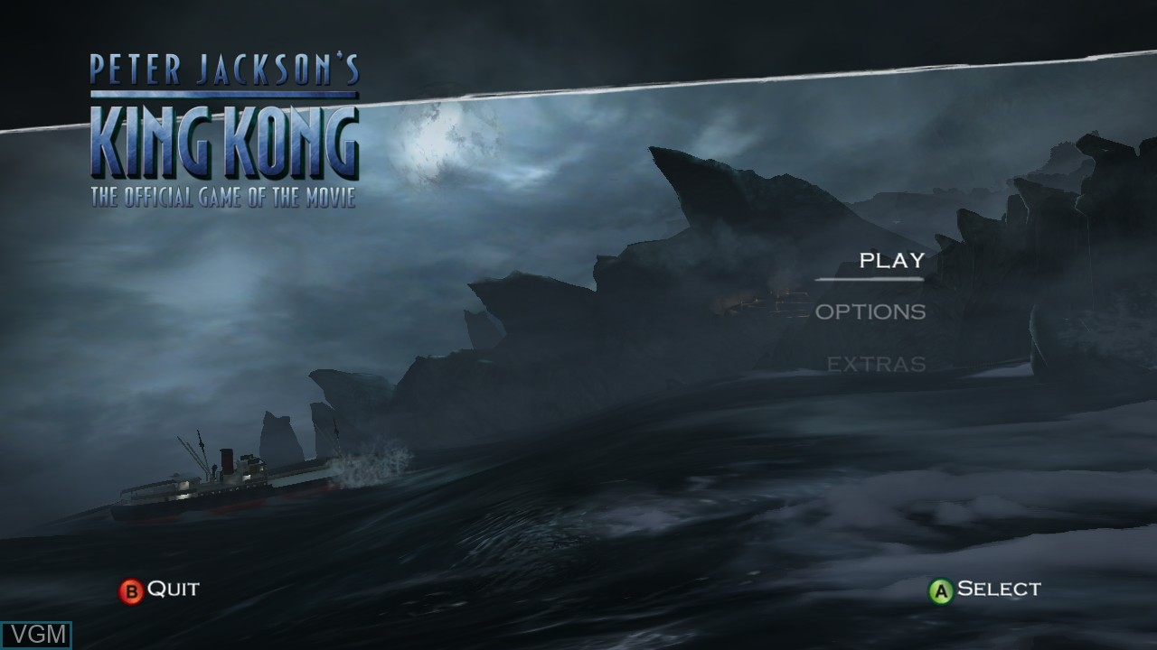 Menu screen of the game Peter Jackson's King Kong - The Official Game of the Movie on Microsoft Xbox 360