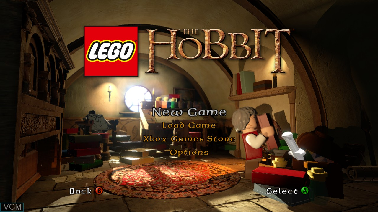 Menu screen of the game LEGO The Hobbit on Microsoft Xbox 360