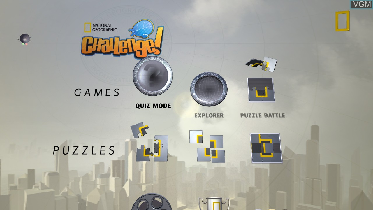 Menu screen of the game National Geographic Challenge! on Microsoft Xbox 360