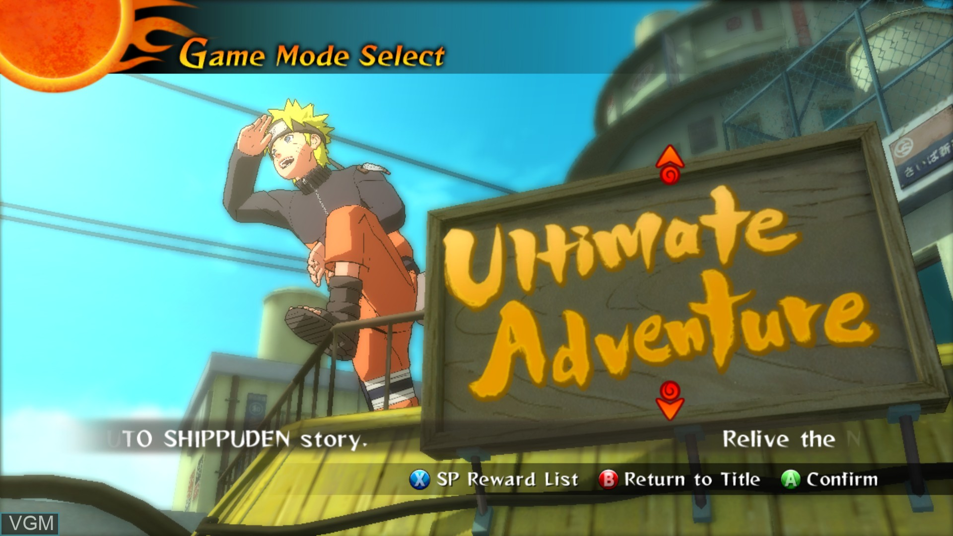 Menu screen of the game Naruto Shippuden - Narutimate Storm 2 on Microsoft Xbox 360