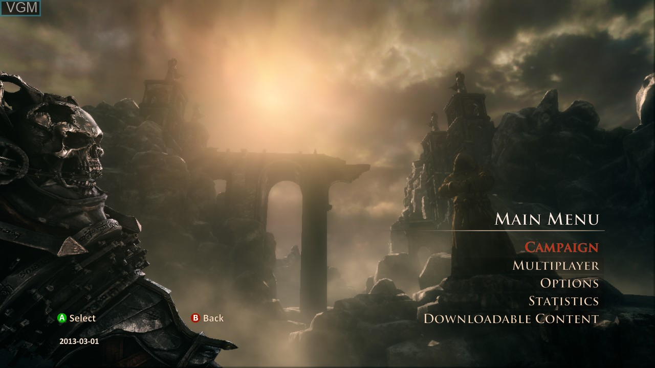 Menu screen of the game Painkiller - Hell & Damnation on Microsoft Xbox 360