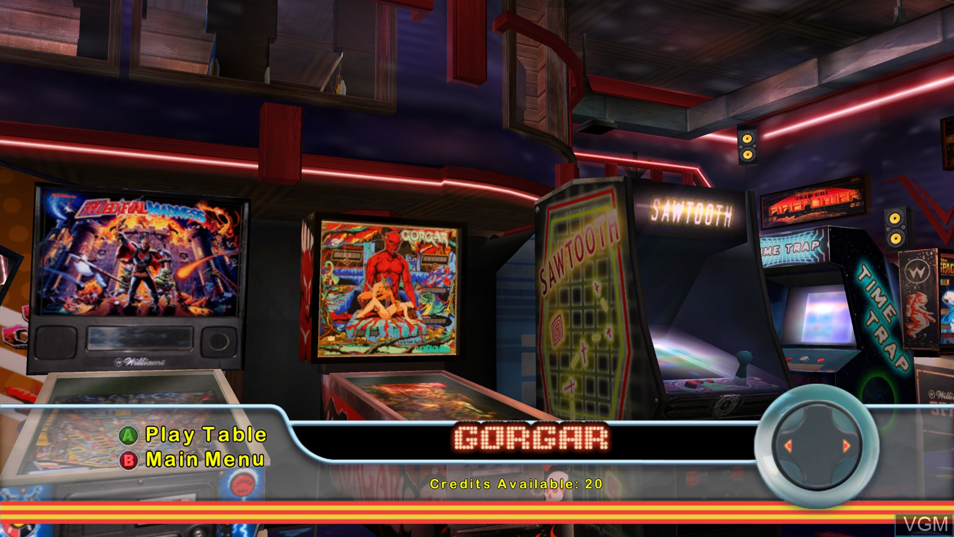 Menu screen of the game Pinball Hall of Fame - The Williams Collection on Microsoft Xbox 360