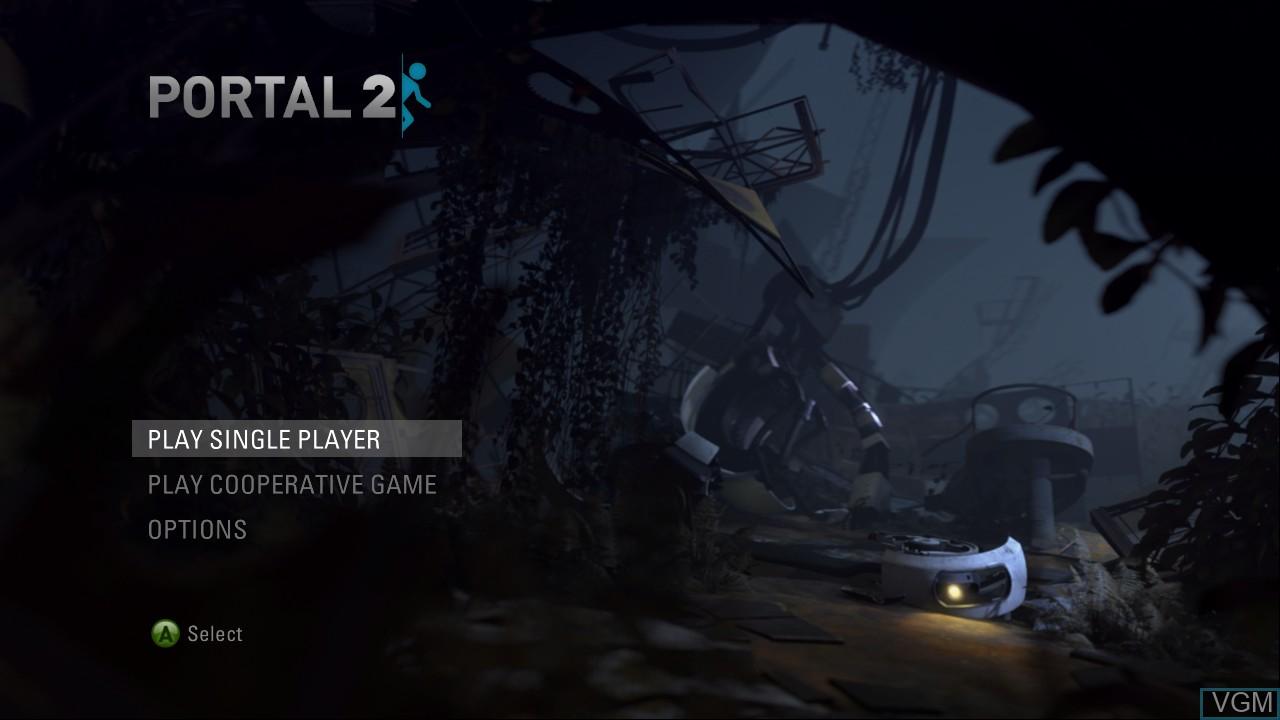 Menu screen of the game Portal 2 on Microsoft Xbox 360