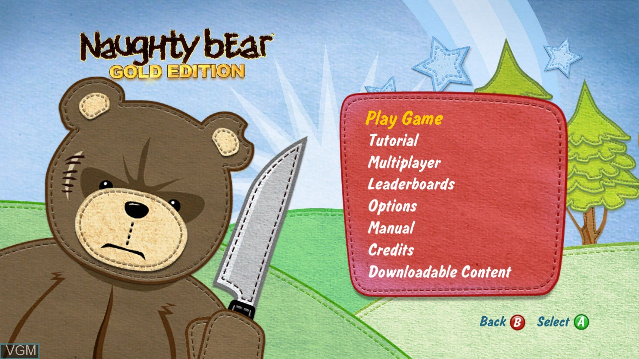 Menu screen of the game Naughty Bear on Microsoft Xbox 360