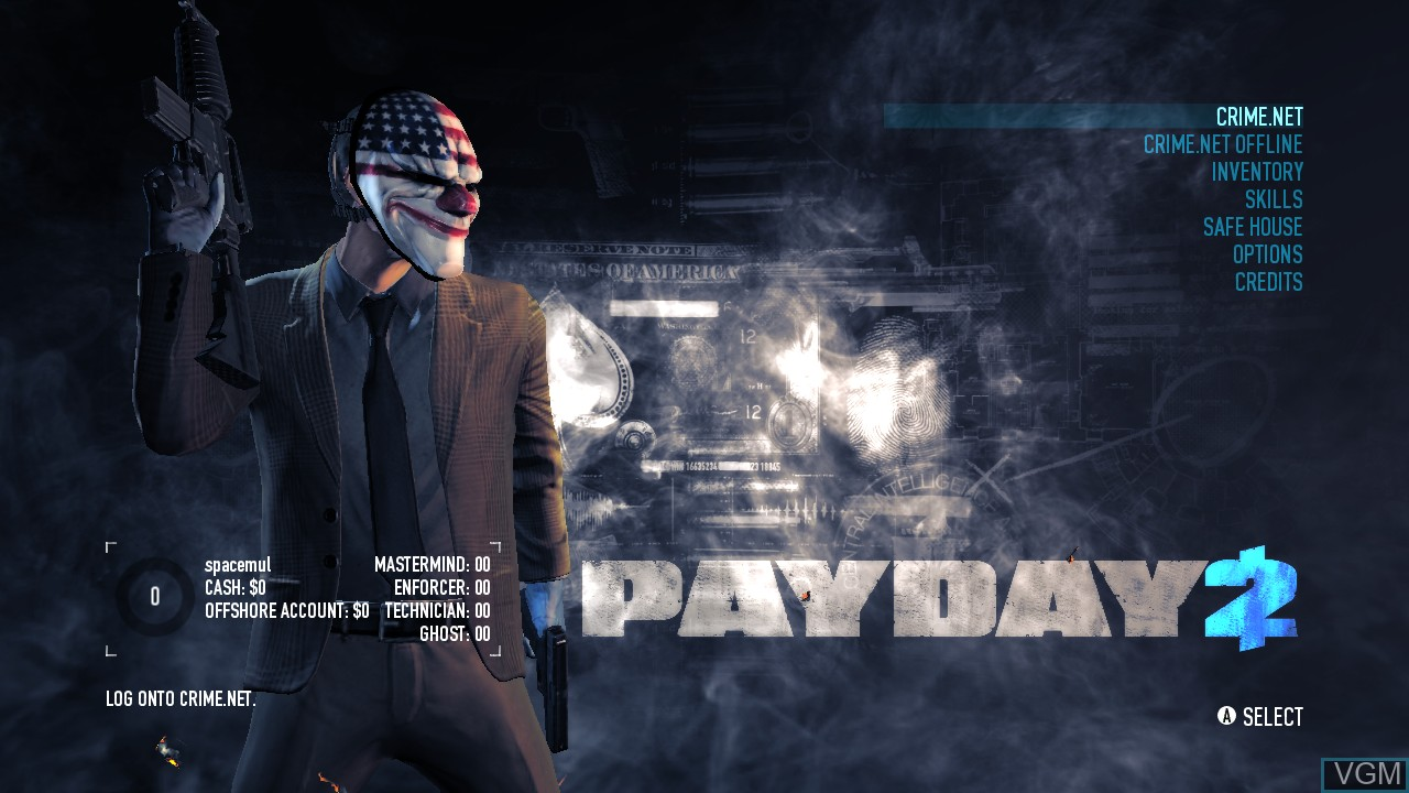 Menu screen of the game Payday 2 on Microsoft Xbox 360