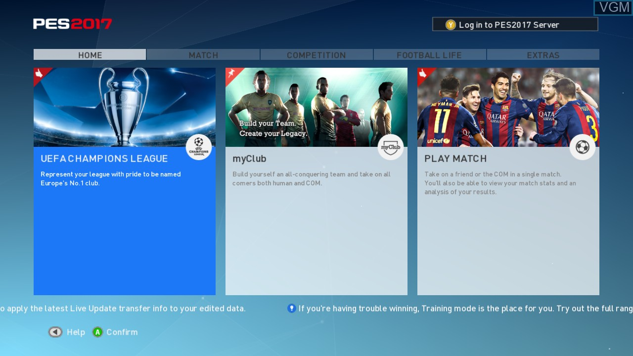 Menu screen of the game Pro Evolution Soccer 2017 on Microsoft Xbox 360