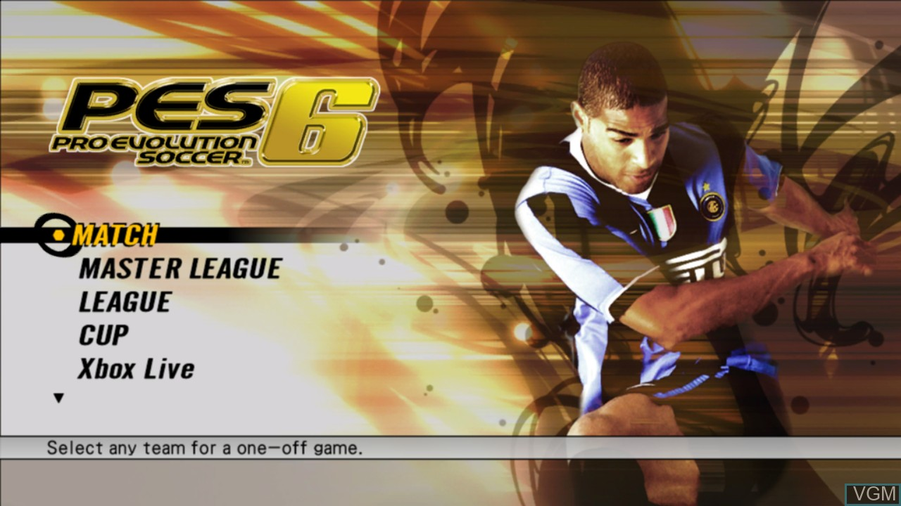 Menu screen of the game Pro Evolution Soccer 6 on Microsoft Xbox 360